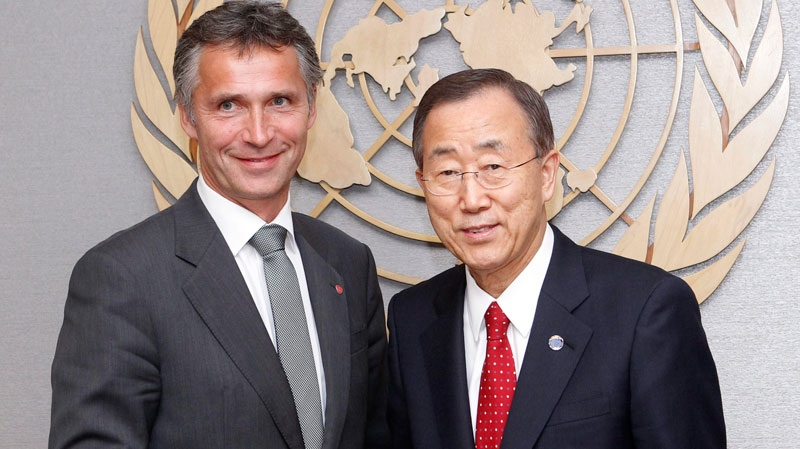 United Nations Secretary-General Ban Ki-moon, right, greets Norwegian Prime Minister Jens Stoltenberg during a summit on the Millennium Development Goals at United Nations headquarters Tuesday, Sept. 21, 2010. (AP / Jason DeCrow)