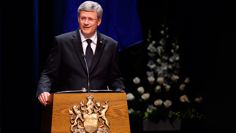 Prime Minister Stephen Harper delivers his address during the state memorial service for former Alberta premier Peter Lougheed in Calgary, Alta., Friday, Sept. 21, 2012. (Government of Alberta Handout/THE CANADIAN PRESS)