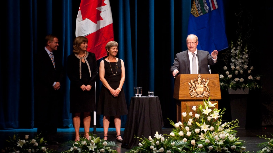 Stephen Lougheed speaks about his father as his siblings look on during the state memorial service for former Alberta premier Peter Lougheed in Calgary, Alta., Friday, Sept. 21, 2012. (Government of Alberta Handout/THE CANADIAN PRESS)