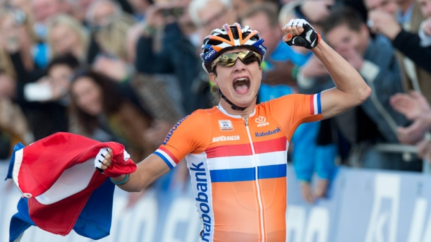 Marianne Vos celebrates winning the World Championship Cycling road race on Sept. 22, 2012.