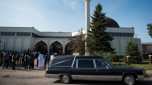 Mourners attend the funeral for a two-year-old girl who was taken off life support Thursday, at the Al Rashid mosque in Edmonton on Saturday, September 22, 2012. (Ian Jackson/THE CANADIAN PRESS)