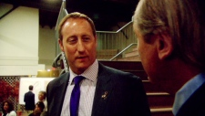 W5's Victor Malarek speaks with Minister of Defence Peter MacKay at an event in Wolfville, N.S.