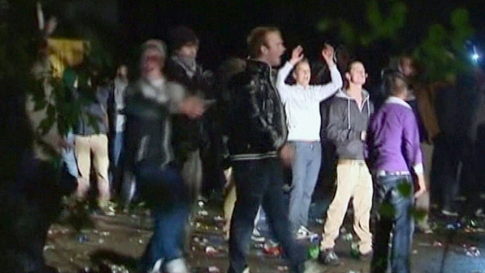 Thousands of revelers attend a party promoted through Facebook in Haren, Netherlands on Friday, Sept 21, 2012.