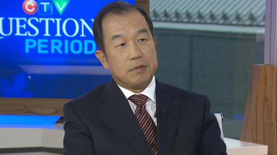 China's Ambassador to Canada Zhang Junsai appears on CTV's Question Period from CTV studios in Ottawa, Sunday, Sept. 23, 2012.