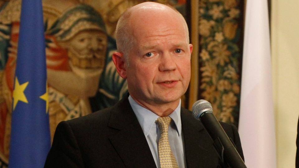 British Foreign Secretary William Hague speaks to the media at a news conference in Warsaw, Poland, Wednesday, Sept. 19, 2012. (AP / Czarek Sokolowski)