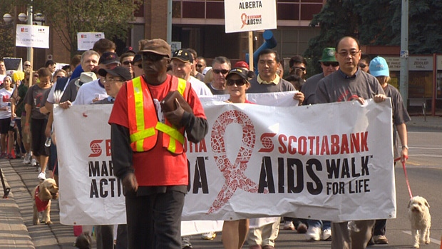 Edmontonians take part in the 21st annual Scotiabank Aids Walk for Life downtown on Sunday.