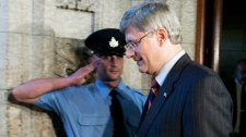 Prime Minister Stephen Harper leaves the House of Commons after losing a vote on the gun registry on Parliament Hill in Ottawa, Wednesday September 22, 2010. (Adrian Wyld / THE CANADIAN PRESS)