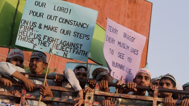 Supporters of a Pakistani religious group demonstrate in Lahore, Pakistan on Sept. 23, 2012.