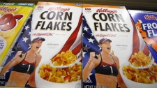 Kellogg's cereals on display at a Pittsburgh grocery market on July 18, 2012.
