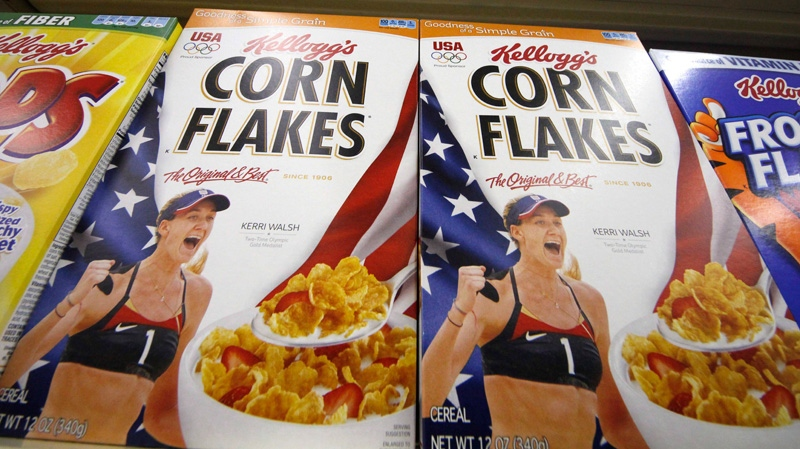 In a Wednesday, July 18, 2012 photo, Kellogg's cereals are on display at a Pittsburgh grocery market. (AP Photo/Gene J. Puskar)