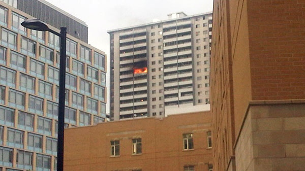 A CTV Toronto viewer's picture of the fire at 200 Wellesley St. E. on Friday, Sept. 24, 2010. (Rene Blanchard/Special to CTV Toronto)