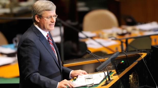 Prime Minister Stephen Harper  of Canada addresses the United Nations General Assembly at United Nations headquarters on Thursday, Sept. 23, 2010. (AP / Henny Ray Abrams