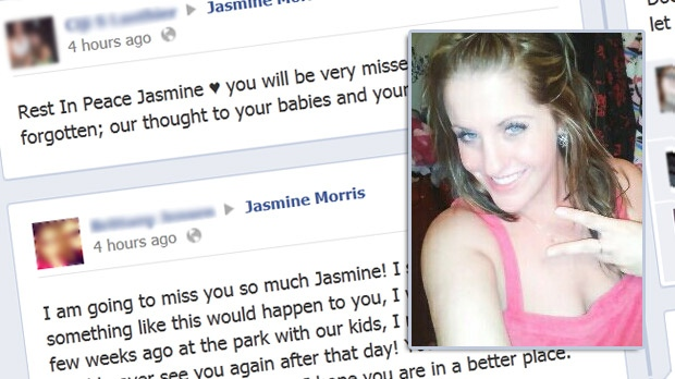 Friends of 26-year-old Jasmine Morris post tributes on her Facebook page after the mother of two was killed in car crash in Alexandria Sept. 23, 2012.