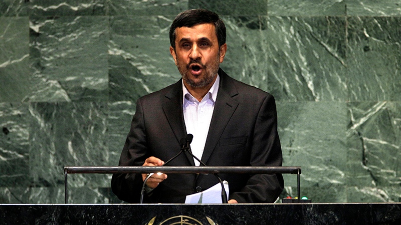 Iran's President Mahmoud Ahmadinejad addresses the high level meeting on rule of law in the United Nations General Assembly at U.N. headquarters Monday, Sept. 24, 2012. (AP / Richard Drew)