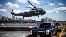 The Marine One helicopter, with President Barack Obama aboard, lands in New York on Sept 24, 2012.