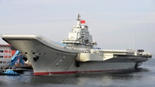 China's aircraft carrier Liaoning in port in an undated file photo.