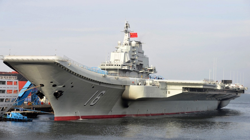 China's aircraft carrier Liaoning berths in a port of China in this undated image. (Xinhua, Li Tang)