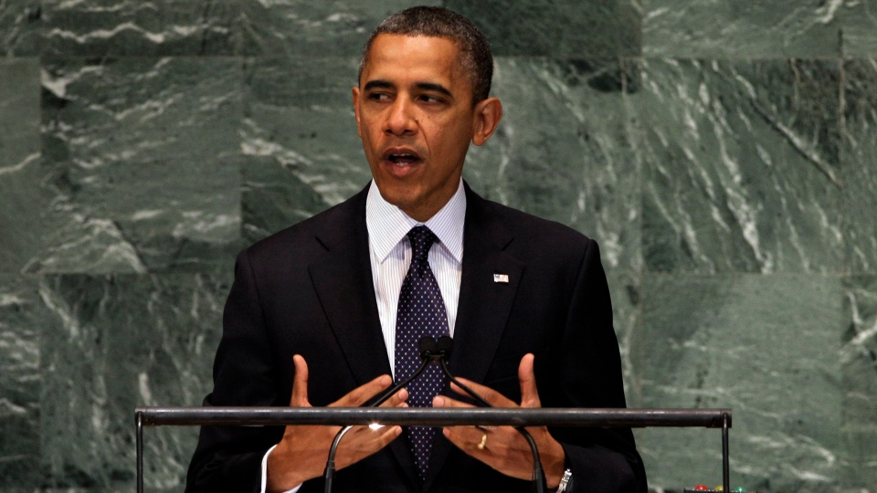U.S. President Barack Obama addresses the 67th session of the United Nations General Assembly, Tuesday, Sept. 25, 2012. (AP / Richard Drew)