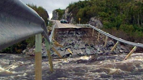 Hurricane Igor brought approximately 240 millimetres of rain, washing out many roads in Newfoundland.