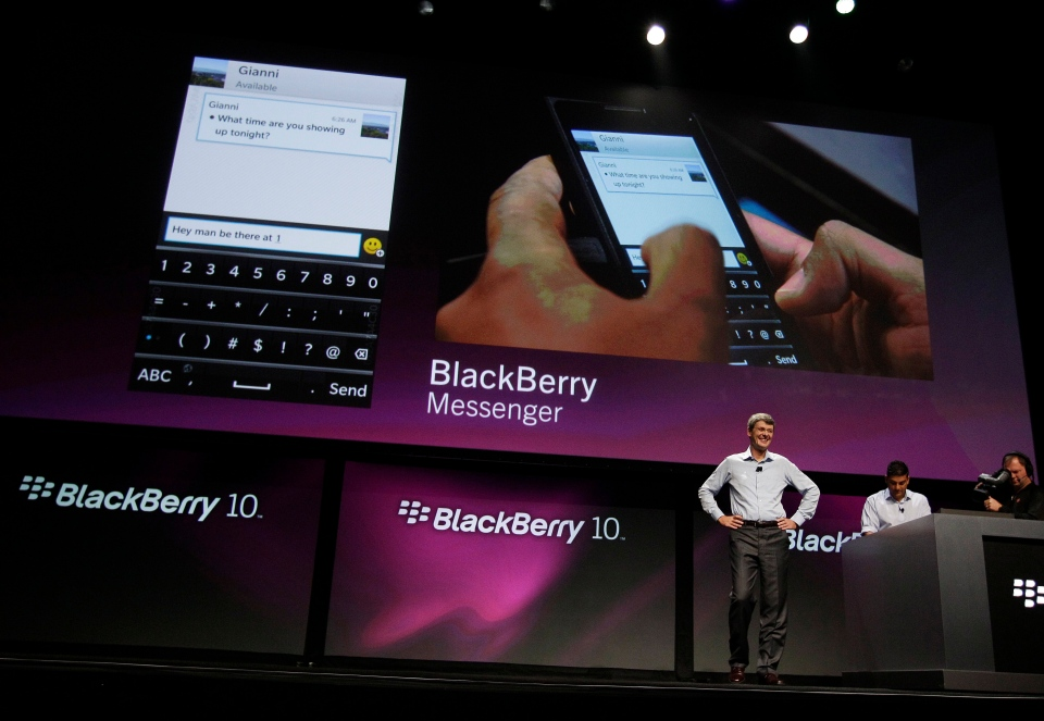 Thorsten Heins, President and CEO of Research in Motion, smiles after talking about the messenger capabilities of the new BlackBerry 10 at the BlackBerry Jam Americas conference in San Jose, Calif., Tuesday, Sept. 25, 2012. (AP / Eric Risberg)