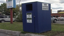 clothing bins, charity