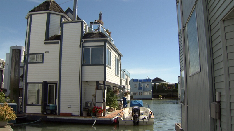 Homes in Ladner, B.C.'s, Canoe Pass Village start from around $450,000, plus monthly moorage fees.