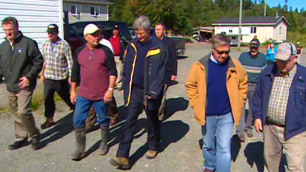 Prime Minister Stephen Harper and Newfoundland and Labrador Premier Danny Williams visited two of the hardest hit communities in the region, Trouty and Britannia, Friday, Sept. 24, 2010.