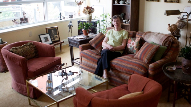 Arden King sits in her apartment at the Dunfield Retirement home in Toronto on Friday Sept. 14, 2012