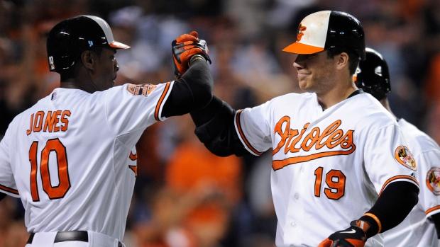 Baltimore Orioles' Chris Davis (19) celebrates with Adam Jones after Davis' three-run home run again