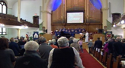Edmontonians take part in a milestone service at McDougall United Church on Sunday.