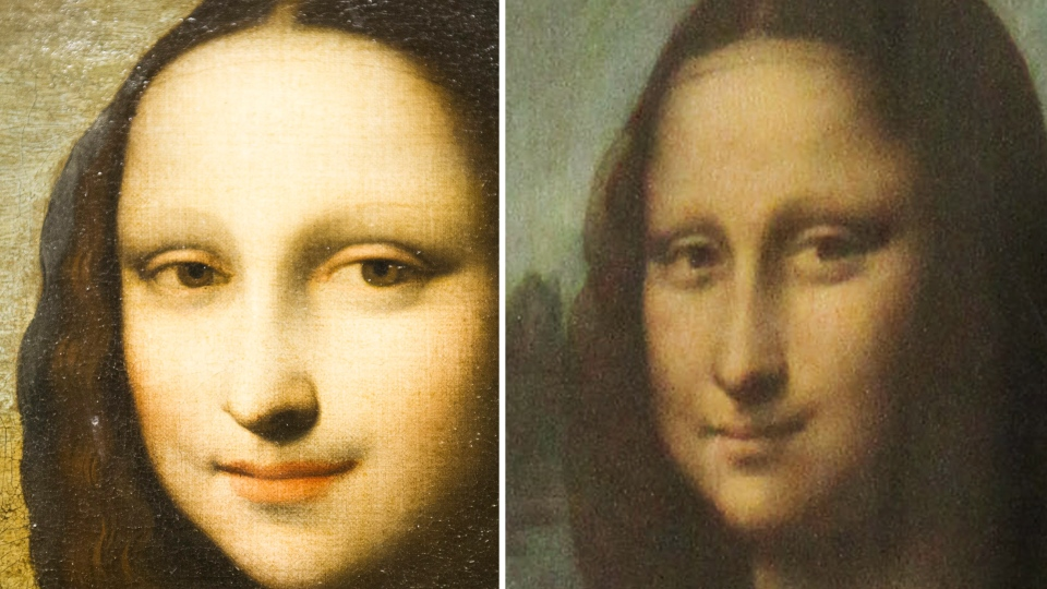 This combination of two photos shows on the left, a painting attributed to Leonardo da Vinci representing Mona Lisa, displayed during a presentation in Geneva, Switzerland on Thursday, Sept. 27, 2012 and on the right a 2004 file photo of the Mona Lisa painting by Da Vinci hanging in the Louvre in Paris. (AP /Keystone, Yannick Bailly, Gregory Payan)