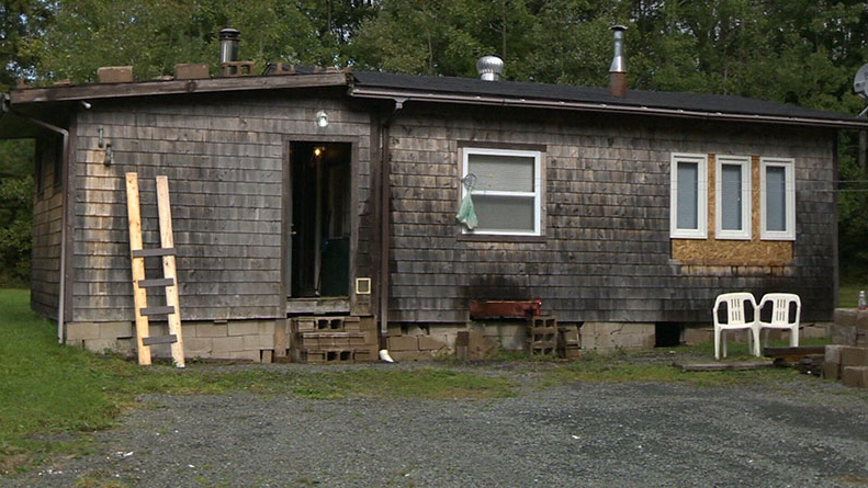 The abandoned home in Upper Chelsea, N.S., where a boy was allegedly held captive and sexually assaulted by David James Leblanc and Wayne Alan Cunningham is seen.