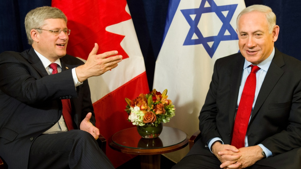 Prime Minister Stephen Harper takes part in a bilateral meeting with Israeli Prime Minister Benjamin Netanyahu in New York on Friday, Sept. 28, 2012. (Sean Kilpatrick / THE CANADIAN PRESS)