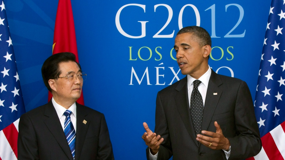 In this June 19, 2012, file photo, President Barack Obama speaks as he attends a bilateral meeting with China's President Hu Jintao during the G20 Summit in Los Cabos, Mexico. (AP Photo/Carolyn Kaster)