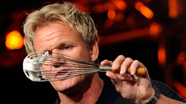 Gordon Ramsay, head chef on the show 'Kitchen Nightmares,' demonstrates to television critics how to make a Baked Alaska dessert at the FOX Television Critics Association summer press tour in Pasadena, Calif., Thursday, Aug. 6, 2009. (AP / Chris Pizzello)