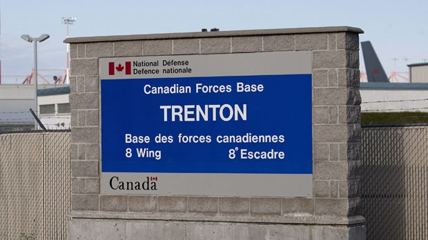 A sign for 8 Wing CFB Trenton is seen on Saturday, Sept. 29. (THE CANADIAN PRESS / Lars Hagberg)