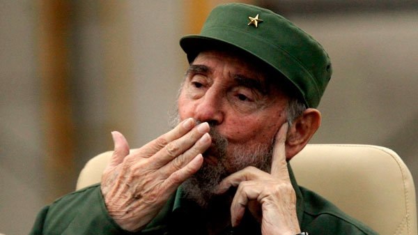 Cuba's leader Fidel Castro blows a kiss before delivering a speech during the 50th anniversary of the Committee for the Defense of the Revolution, CDR, in Havana, Cuba, Tuesday, Sept. 28, 2010. (AP / Ismael Francisco, Prensa Latina)