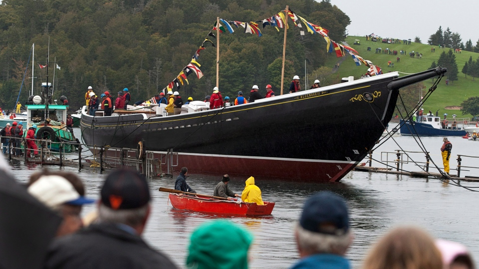 Bluenose II, Nova Scotia's sailing icon, returns to the water in Lunenburg, N.S.