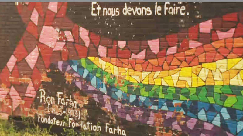 A downtown mural salutes Ron Farha's contribution to the fight against HIV-AIDS