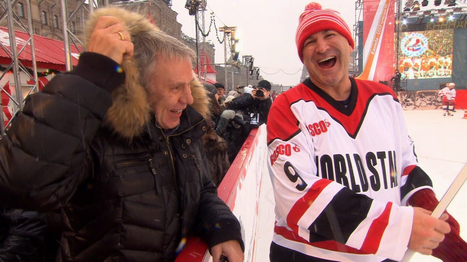 Glenn Anderson, right, shares a laugh with Slava Fetisov at an event celebrating the 40th anniversary of the '72 Summit Series, in Moscow's Red Square.
