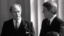 Pierre Trudeau and Brian Mulroney together in Ottawa on Mar. 28, 1984.