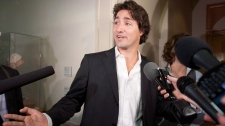 Liberal MP Justin Trudeau on his way to a Liberal caucus meeting on Sept. 26, 2012.