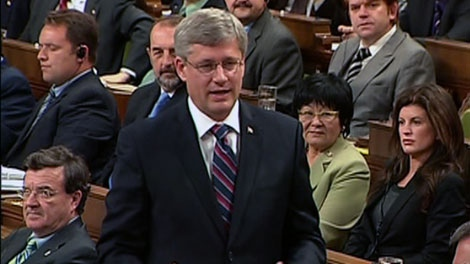 Prime Minister Stephen Harper responds to a question during Question Period in the House of Commons on Parliament Hill in Ottawa, Tuesday Sept. 28, 2010.