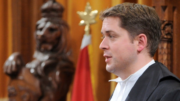 Speaker of the House of Commons Andrew Scheer stands during Question Period in the House of Commons on Parliament Hill in Ottawa on Monday, June 11, 2012. (Sean Kilpatrick / THE CANADIAN PRESS)