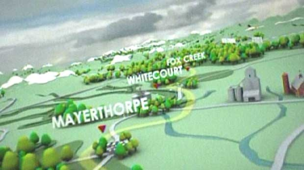 A still from a promotional video from Enbridge depicts the route the proposed Northern Gateway Pipeline will take through Alberta.