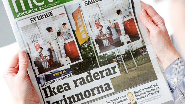 Daily Metro fronted with two images from Swedish and Saudi Arabian IKEA catalogue