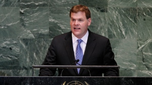 Foreign Affairs Minister John Baird addresses the 67th session of the United Nations General Assembly at UN. headquarters in New York, Monday, Oct. 1, 2012. (AP / Jason DeCrow)