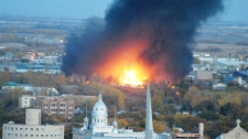 A MyNews contributor sends in this image of a fire in Winnipeg on Monday, Oct. 1, 2012. (Carl B. Jac
