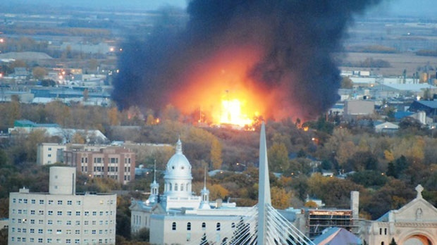 A massive explosion is seen from across the city, after a fire broke out at a St. Boniface business.