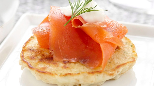 Brown Rice Blinis with Smoked Fish and Creme Fraiche.
